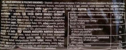 Skawa, Korsarz draże kokosowe w polewie kakaowej, skład i wartości odżywcze, copyright Olga Kublik