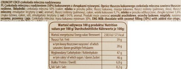 Wawel, Czekoladowe całusy Crunchy Coco, mleczna czekolada z kremem kokosowym i chrupkami ryżowymi, skład i wartości odżywcze, copyright Olga Kublik