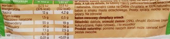 Kubara, Dobra Kaloria chrupiący orzech, zdrowy i dietetyczny raw bar o smaku masła orzechowego, skład i wartości odżywcze, copyright Olga Kublik