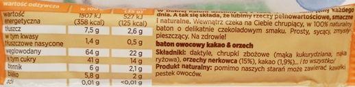 Kubara, Dobra Kaloria kakao i orzech, wegański surowy baton z daktylami, słodycze bez glutenu, skład i wartości odżywcze, copyright Olga Kublik