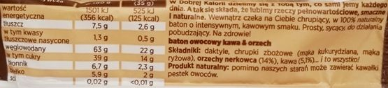 Kubara, Dobra Kaloria kawa i orzech, raw bar wegański i bezglutenowy, skład i wartości odżywcze, copyright Olga Kublik