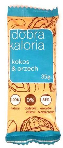 Kubara, Dobra Kaloria kokos i orzech, zdrowy wegański raw bar z daktylami, nerkowcami, fistaszkami, chrupkami i wiórkami kokosowymi, copyright Olga Kublik