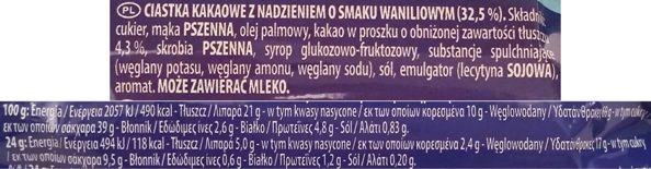 Mondelez, Oreo Crispy and Thin, cienkie kakaowe herbatniki z waniliowym kremem, amerykańskie markizy, skład i wartości odżywcze, copyright Olga Kublik