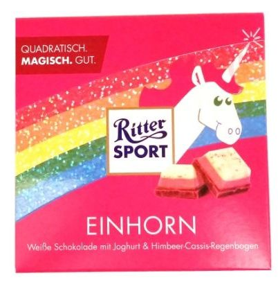Ritter Sport, Einhorn, biała czekolada z maliną i czarną porzeczką, magiczna i bajeczna tabliczka z jednorożcem, copyright Olga Kublik