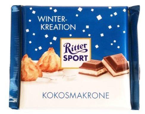 Ritter Sport, Kokosmakrone, zimowa tabliczka edycja limitowana, czekolada mleczna z mlecznym kremem, kokosankami i chrupkami ryżowymi, copyright Olga Kublik