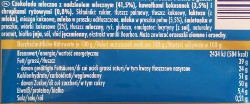 Ritter Sport, Kokosmakrone, zimowa tabliczka edycja limitowana, czekolada mleczna z mlecznym kremem, kokosankami i chrupkami ryżowymi, skład i wartości odżywcze, copyright Olga Kublik