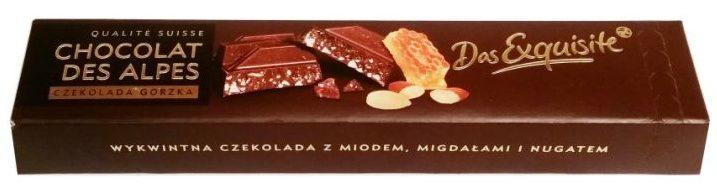Das Exquisite, Chocolat Des Alpes czekolada gorzka z miodem, migdałami i nugatem, copyright Olga Kublik