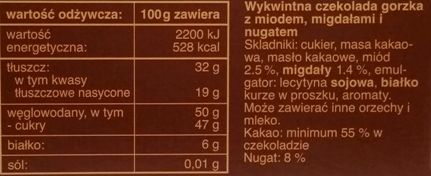 Das Exquisite, Chocolat Des Alpes czekolada gorzka z miodem, migdałami i nugatem, skład i wartości odżywcze, Rossmann, copyright Olga Kublik