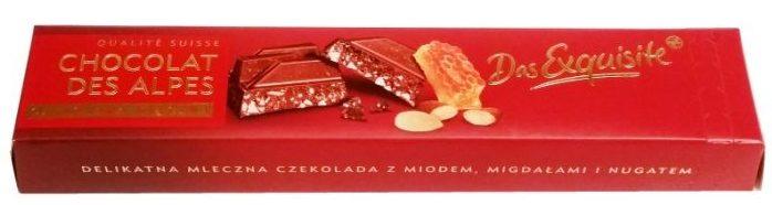 Das Exquisite, Chocolat Des Alpes czekolada mleczna z miodem, migdałami i nugatem, Rossmann, copyright Olga Kublik