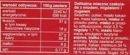 Das Exquisite, Chocolat Des Alpes czekolada mleczna z miodem, migdałami i nugatem, Rossmann, skład i wartości odżywcze, copyright Olga Kublik