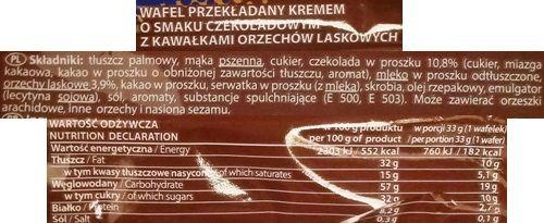 Goplana, Grześki gofree Chocolate with Hazelnuts, wafle gofrowe z nadzieniem czekoladowym i orzechami laskowymi, skład i wartości odżywcze, copyright Olga Kublik