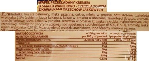 Goplana, Grześki gofree Vanilla-Chocolate with Hazelnuts, wafle gofrowe z kremami o smaku waniliowym i czekoladowym, skład i wartości odżywcze, copyright Olga Kublik