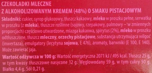 Goplana, Sweet Gift czekoladki mleczne z alkoholizowanym kremem o smaku pistacjowym, skład i wartości odżywcze, copyright Olga Kublik