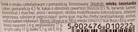 Jana, Premium jogurt Serek termizowany o smaku czekoladowym z pomarańczą, skład i wartości odżywcze, copyright Olga Kublik