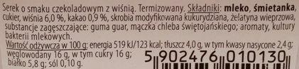 Jana, Premium jogurt Serek termizowany o smaku czekoladowym z wiśnią, skład i wartości odżywcze, copyright Olga Kublik