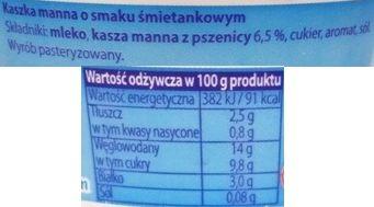 OSM Czarnków, Paradiso Kaszka manna o smaku śmietankowym, mleczny deser z Netto, skład i wartości odżywcze, copyright Olga Kublik