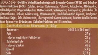 Ritter Sport, Schoko-Brownie, mleczna czekolada z kremem o smaku brownie, skład i wartości odżywcze, copyright Olga Kublik