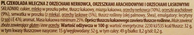 Terravita, Moc Orzechów Czekolada Mleczna z Orzechami Nerkowca, Arachidowymi i Laskowymi, skład i wartości odżywcze, copyright Olga Kublik