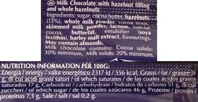 Lindt, Nocciolatte, baton z nugatem, orzechami laskowymi i mleczną czekoladą, skład i wartości odżywcze, copyright Olga Kublik
