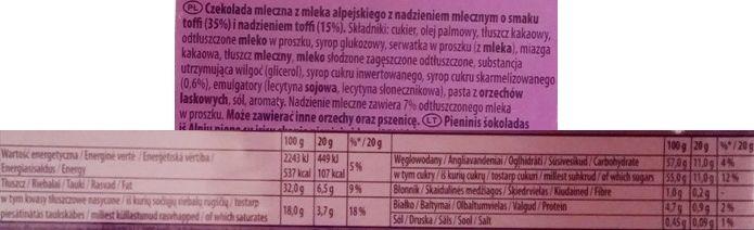 Milka, Toffee Creme, mleczna czekolada z nadzieniem toffi i płynnym toffi lub karmelem, skład i wartości odżywcze, copyright Olga Kublik