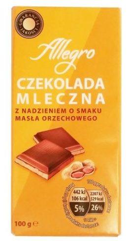 Millano-Baron, Allegro Czekolada mleczna z nadzieniem o masła orzechowego z Biedronki, copyright Olga Kublik
