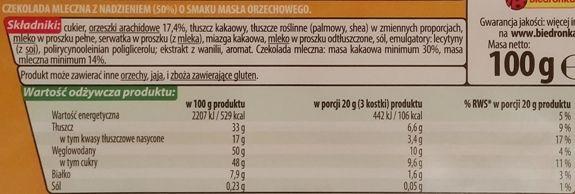 Millano-Baron, Allegro Czekolada mleczna z nadzieniem o masła orzechowego z Biedronki, skład i wartości odżywcze, copyright Olga Kublik