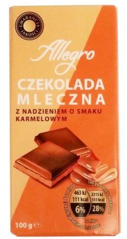 Millano-Baron, Allegro Czekolada mleczna z nadzieniem o smaku karmelowym z Biedronki, copyright Olga Kublik