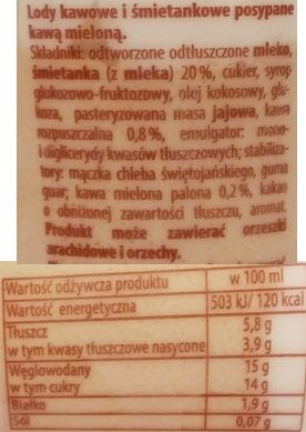Nordis, Caffe Latte, lody kawowo-śmietankowe z kawą, skład i wartości odżywcze, copyright Olga Kublik