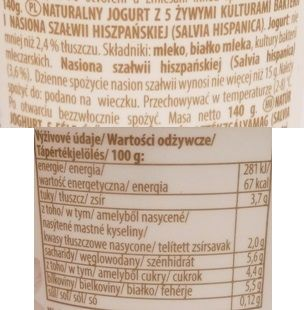 Olma, ReVital Chia Bily, jogurt naturalny z szałwią hiszpańską, skład i wartości odżywcze, copyright Olga Kublik