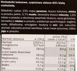 Sondey, Herbatniki kakaowe w białej czekoladzie, ciastka z Lidla, skład i wartości odżywcze, copyright Olga Kublik