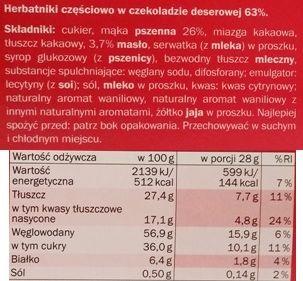 Sondey, Herbatniki z czekoladą deserową ciastka z ciemną czekoladą z Lidla, skład i wartości odżywcze, copyright Olga Kublik