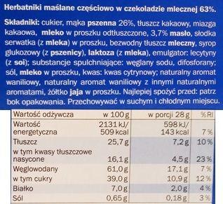 Sondey, Herbatniki z czekolada mleczna, kruche ciastka z Lidla, skład i wartości odżywcze, copyright Olga Kublik