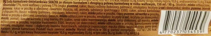 AB Pieno zvaigzdes, Svalya Słone Karmel, rożek lodowy z Biedronki, skład i wartości odżywcze, copyright Olga Kublik