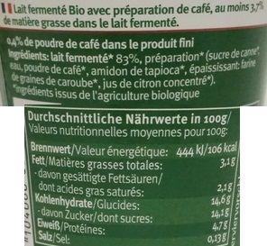 Andechser Molkerei Scheitz, Andechser Natur Bio-Kaffee Bio-jogurt mild, bio jogurt o smaku kawy z Carrefoura, skład i wartości odżywcze, copyright Olga Kublik