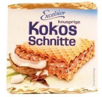 Excelsior, Kokos Schnitte knusprige, wafel typu Hanuta z kremem z wiórkami kokosowymi, copyright Olga Kublik
