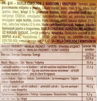 Kandit, Kandi Crunchy Coconut, biała czekolada z wiórkami kokosa i chrupkami, skład i wartości odżywcze, copyright Olga Kublik