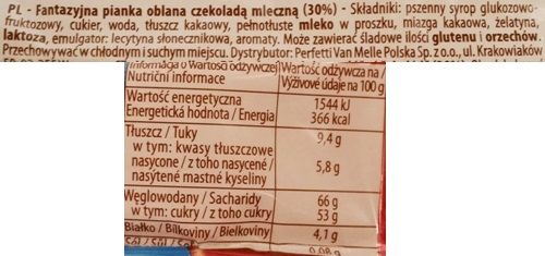 Perfetti Van Melle, Cemoi Chocolatier Francais Petit Ourson, waniliowa pianka marshmallow w mlecznej czekoladzie w kształcie misia, słodycze dla dzieci, skład i wartości odżywcze, copyright Olga Kublik
