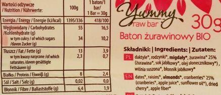 Raw and Happy, Yummy raw bar cranberry, surowy baton wegański bez glutenu z żurawiną, orzechami, migdałami, daktylami i rodzynkami, skład i wartości odżywcze, copyright Olga Kublik