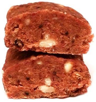 Raw and Happy, Yummy raw bar cranberry, surowy baton wegański bez glutenu z żurawiną, orzechami, migdałami, daktylami i rodzynkami, copyright Olga Kublik