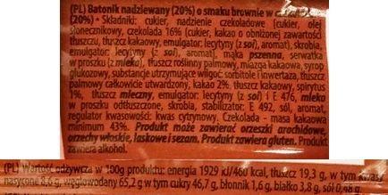 Vobro, Brownie, baton w polewie kakaowej, skład i wartości odżywcze, copyright Olga Kublik