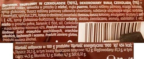 Vobro, Trufla dekorowana białą czekoladą, skład i wartości odżywcze, copyright Olga Kublik