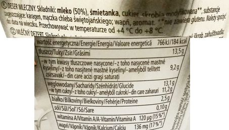 Zott, Monte White, deser mleczny, skład i wartości odżywcze, copyright Olga Kublik