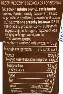 Zott, Monte, deser mleczny orzech czekolada, skład i wartości odżywcze, copyright Olga Kublik