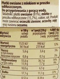 Bruggen, Owsianka z Lidla, skład i wartości odżywcze, copyright Olga Kublik