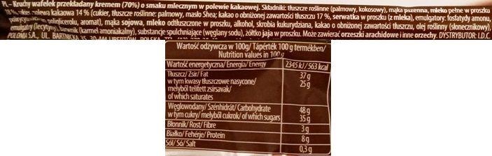 I.D.C. Polonia, Lusette smak Mleczny, wafle przełożone kremem mlecznym i oblane kakaową polewą, skład i wartości odżywcze, copyright Olga Kublik