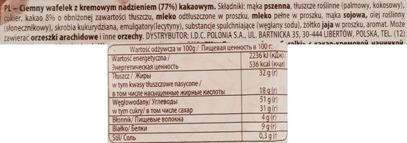 I.D.C. Polonia, Nagie Góralki extra kakaowe, wafle bez czekolady przekładane kremem kakaowym, skład i wartości odżywcze, copyright Olga Kublik
