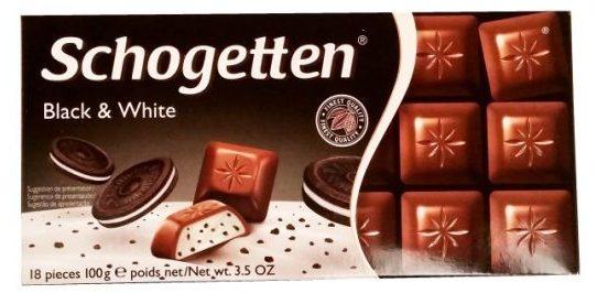 Ludwig Schokolade, Schogetten Black and White, czekolada mleczna z nadzieniem typu cookies and cream, waniliowa z kakaowymi ciasteczkami, copyright Olga Kublik