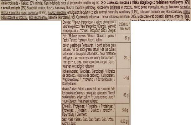 Ludwig Schokolade, Schogetten Vanilla-Wafer, czekolada mleczna z kremem waniliowym i wafelkami, skład i wartości odżywcze, copyright Olga Kublik