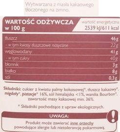 SuroVital, Cocoa Biała surowa czekolada z pistacjami i sola, wegańska czekolada ekologiczna, raw food, skład i wartości odżywcze, copyright Olga Kublik