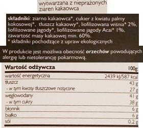 SuroVital, Cocoa Czekolada wiśnia - acai, wegańska surowa czekolada, raw food, skład i wartości odżywcze, copyright Olga Kublik